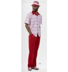 Montique Montique Short Sleeve Pantset - 2037 Red