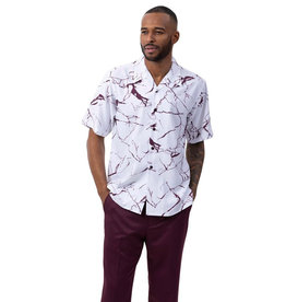 Montique Montique Short Sleeve Pantset - 2062 Wine