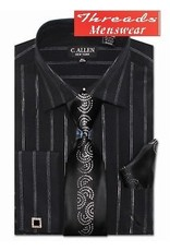 C. Allen C. Allen Metallic Shirt, Tie, Handkerchief, & Cufflinks Set JM108 - Black or White