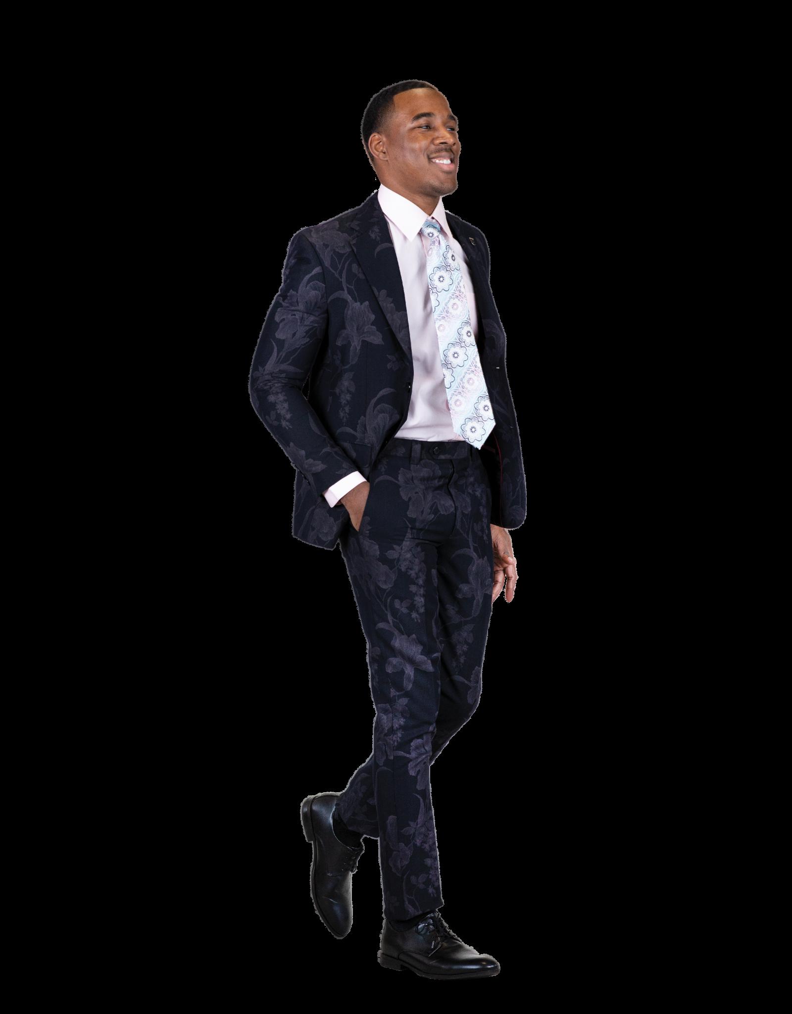 Stacy Adams Stacy Adams Slim Fit Floral Suit - 9060SEA Navy