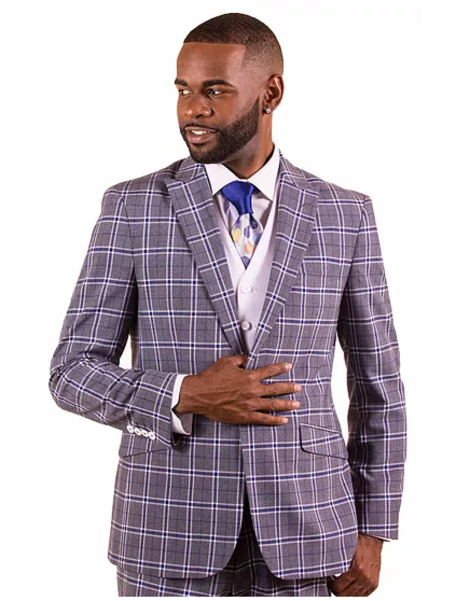 Vitali Vitali Vested Suit - M1810 Gray/White