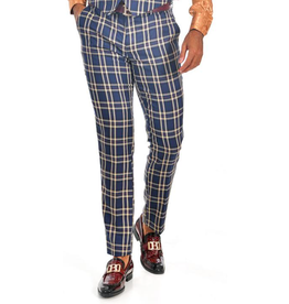Barabas Barabas Slim Fit Pant - CP61 Navy/Beige Plaid