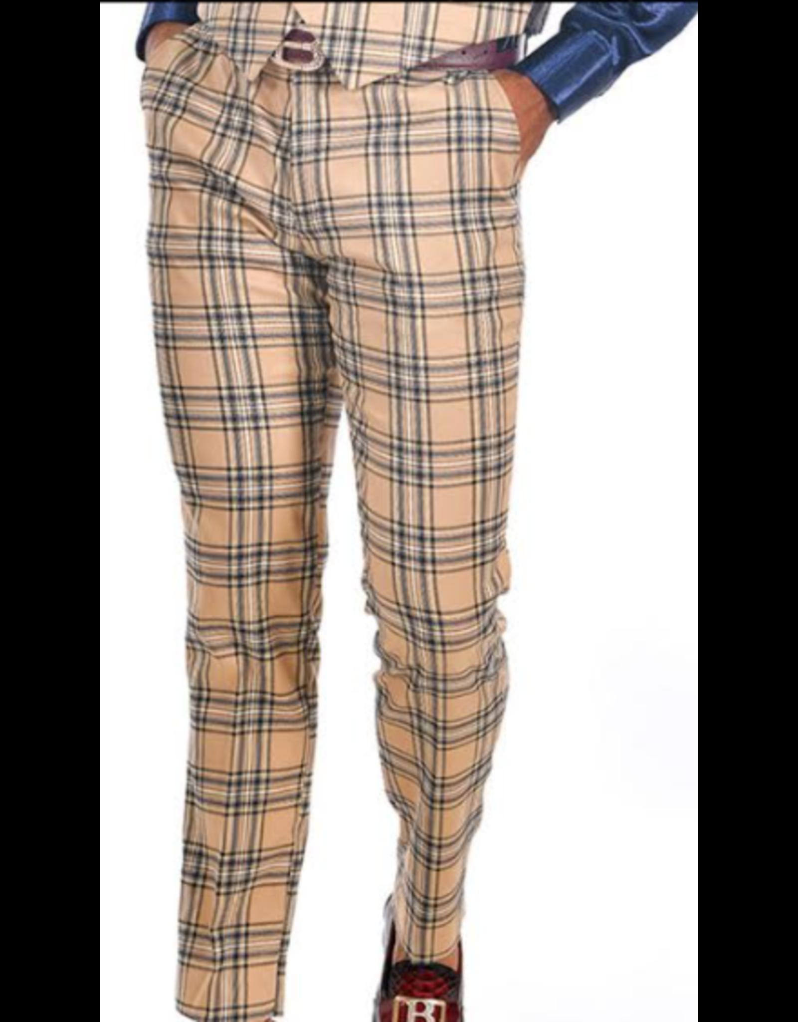 Barabas Barabas Slim Fit Pant - CP60 Cream/Black Plaid