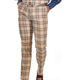 Barabas Barabas Slim Fit Pant - CP60 Cream/Black Plaid