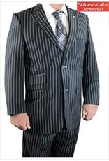Stacy Adam Stacy Adam Vested 3 Piece Suit w/  Extra Solid Pants 5490-000 Black/White