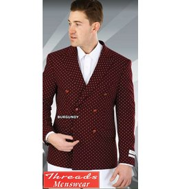 Lorenzo Bruno Lorenzo Bruno Burgundy/White Double Breast Blazer