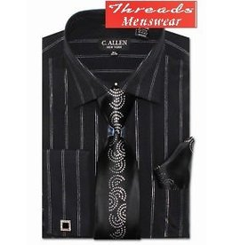 C. Allen C. Allen Metallic Shirt Set JM108 - Black or White