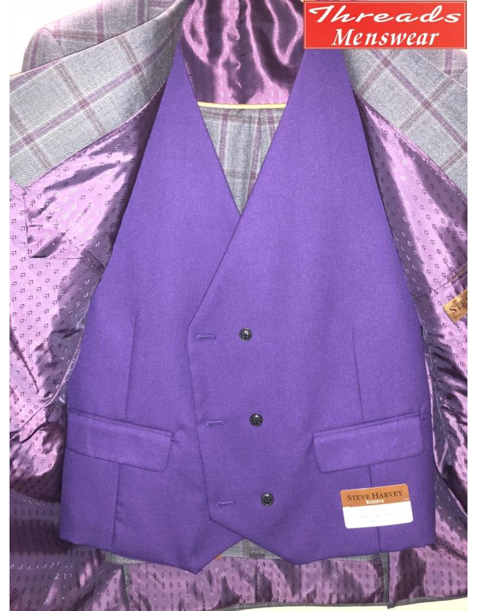 Steve Harvey Steve Harvey Vested Suit - Gray/Lavendar (Purple Vest)