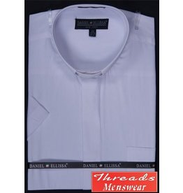 Daniel Ellissa Short Sleeve Tab Collar Clergy Shirt - White