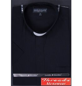 Daniel Ellissa Short Sleeve Tab Collar Clergy Shirt - Black