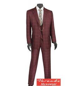 Vinci Vinci Vested Suit - V2RW7 Burgundy
