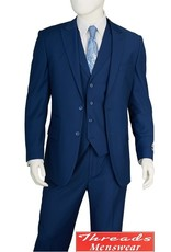 Lorenzo Bruno Lorenzo Bruno Vested Suit F62SB Blue