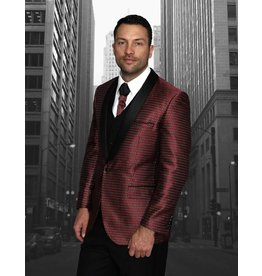 Statement Statement Bellagio-7 Suit, Vest, and Bow Tie - Red/Burgundy