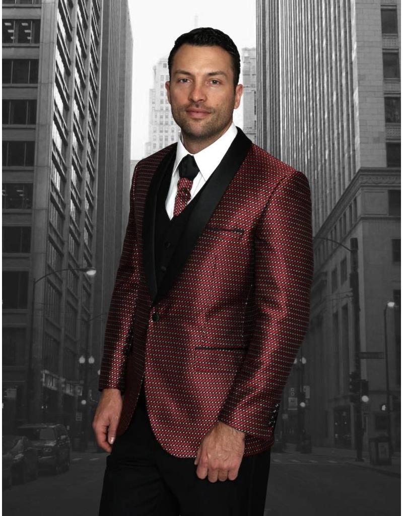 Statement Statement Bellagio-7 Suit, Vest, and Bow Tie - Red/Burgundy