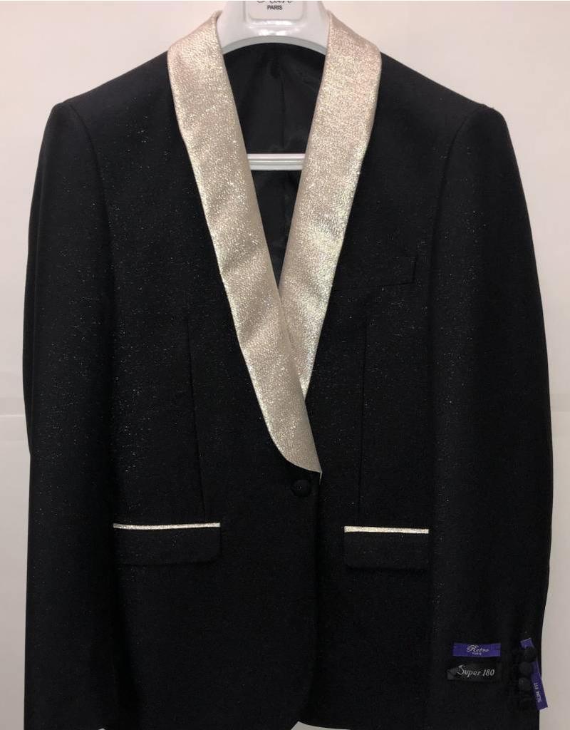 Retro Paris Retro Paris Slim Fit Blazer- 508 Black/Champagne