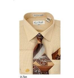 Karl Knox Karl Knox Shirt & Tie Set - SX4398 Tan