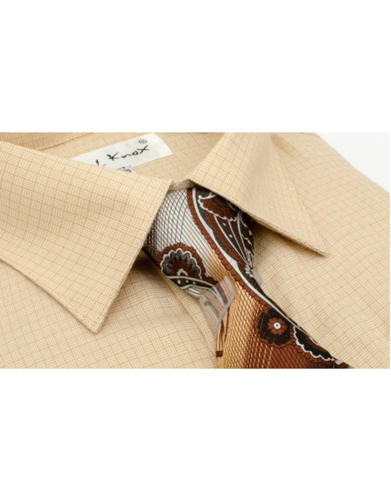 Karl Knox Karl Knox Shirt & Tie Set - SX4398 Tan
