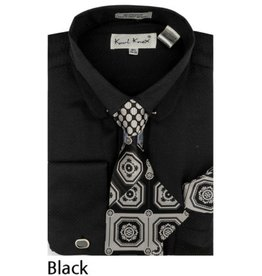 Karl Knox Karl Knox Shirt & Tie Set - SX4389 Black