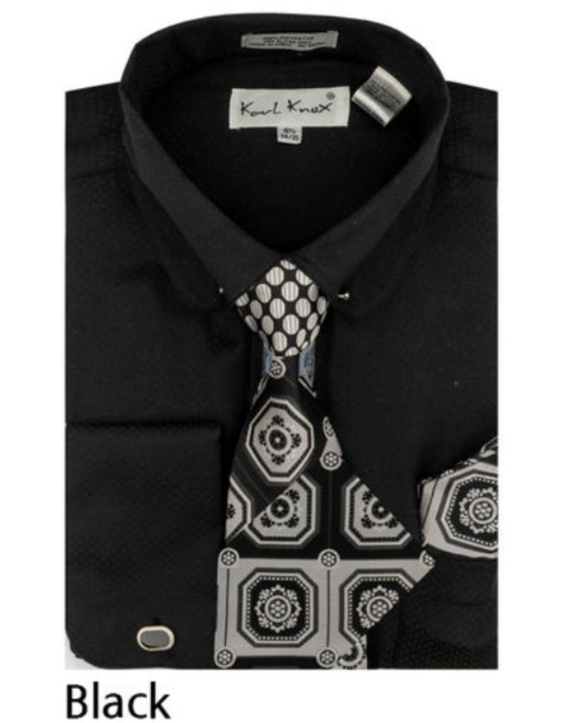 Karl Knox Karl Knox Shirt & Tie Set - SX4389 Black