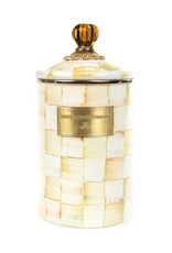 Mackenzie Childs Parchment Check Enamel Canister Large