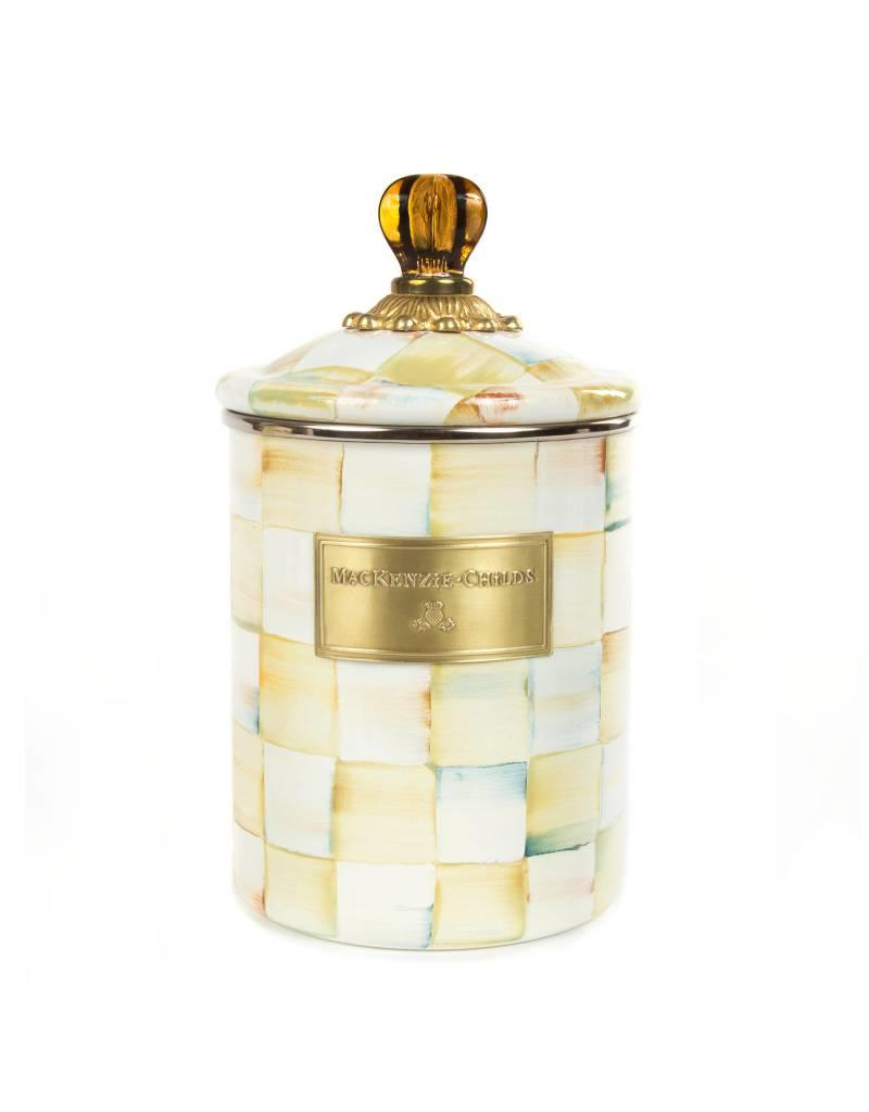 Mackenzie Childs Parchment Check Enamel Canister Medium