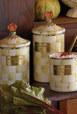 Mackenzie Childs Parchment Check Enamel Canister Small