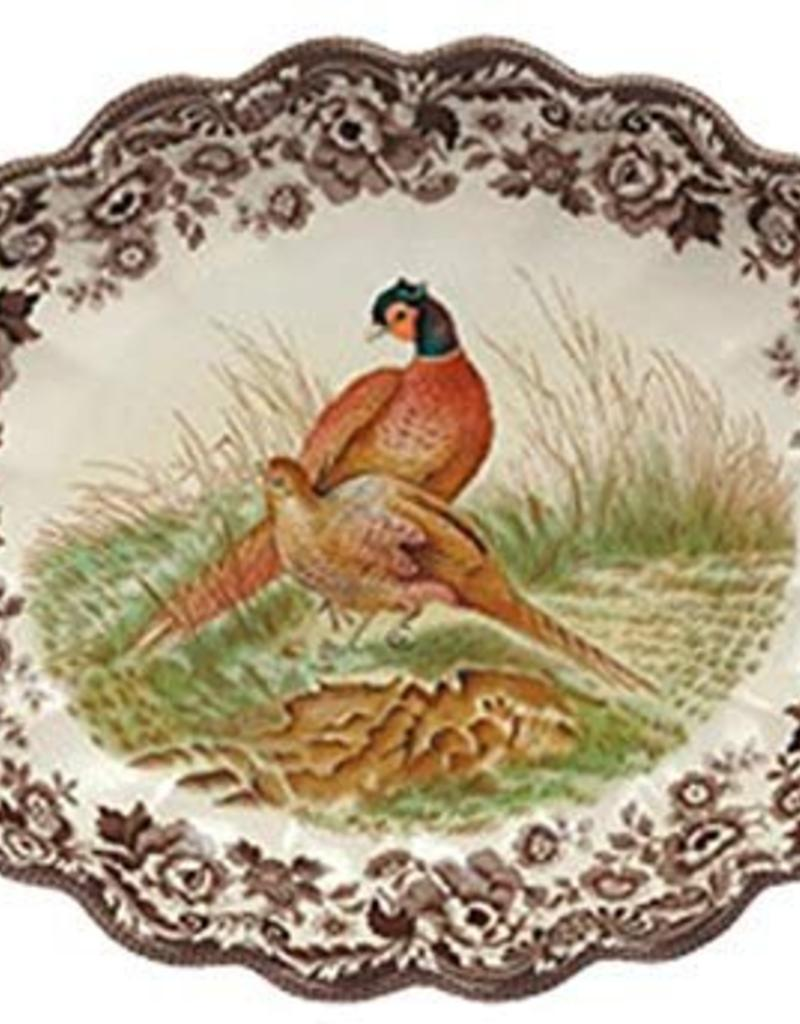 """Spode Woodland Oval Fluted Dish 14.5"""" (Pheasant)"""