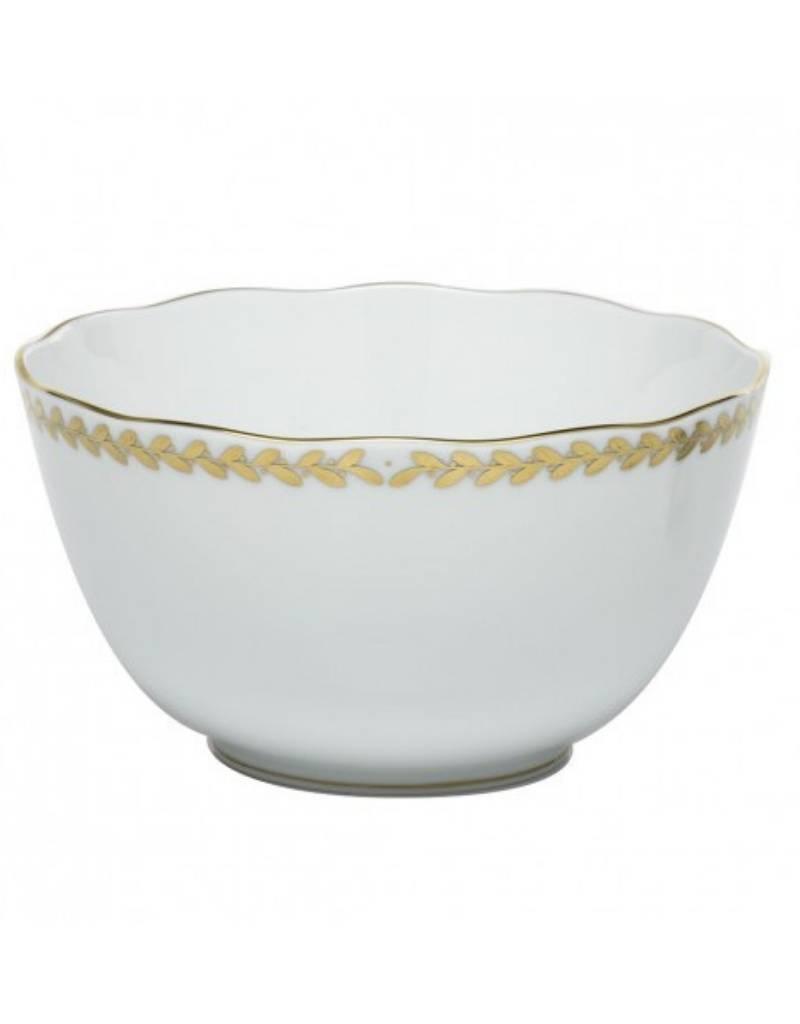 Herend Golden Laurel Round Open Veggie Bowl