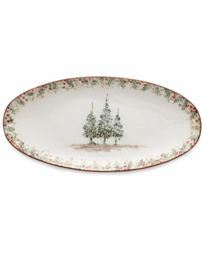 Arte Italica Natale Long Oval Platter