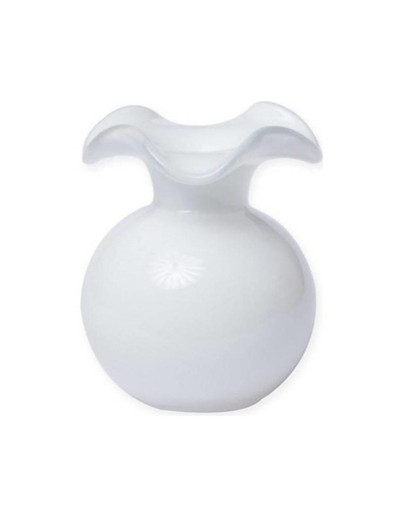 Vietri Hibiscus Glass Large Fluted Vase (White)