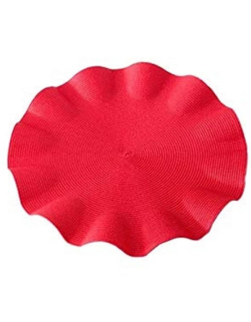 Deborah Rhodes Linen Braid Ruffle Placemat (Red)