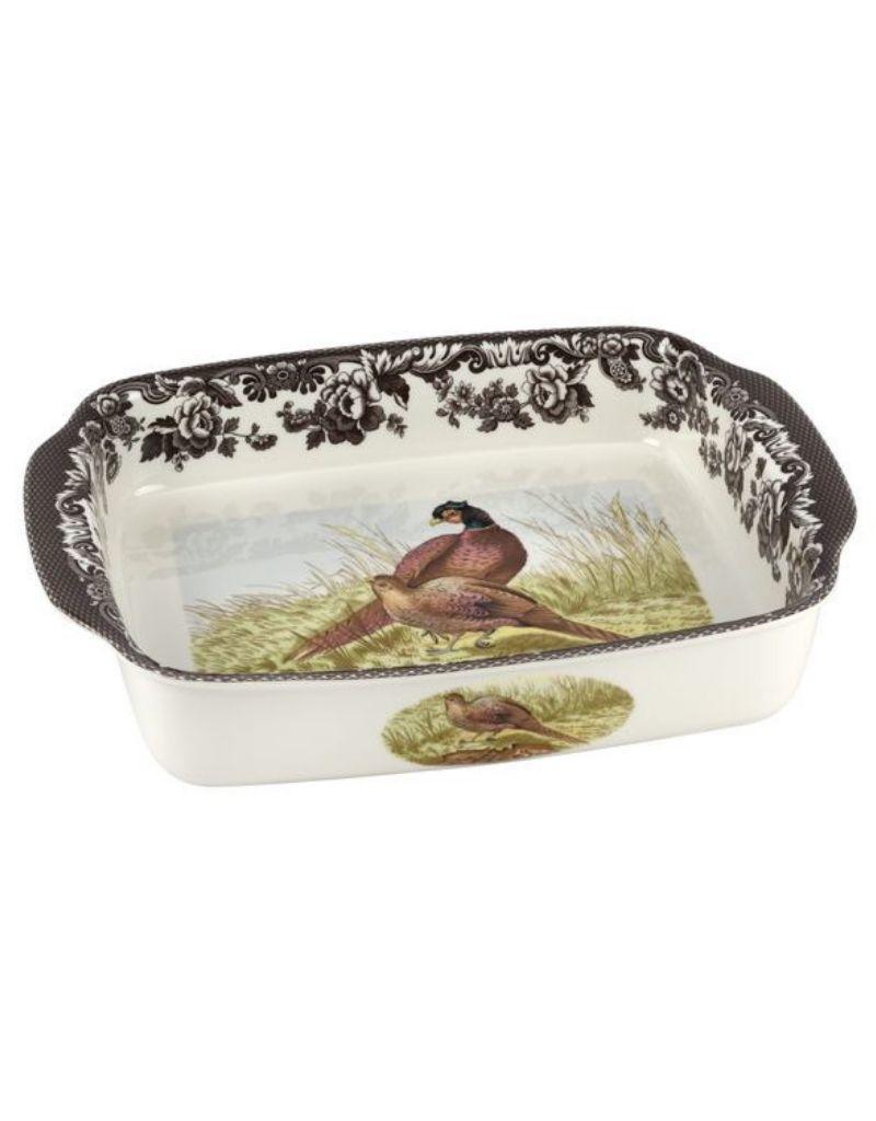 "Spode Woodland Handled Lasagna (Pheasant) 15x12"""