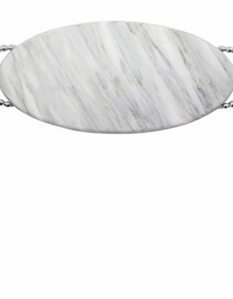 Mariposa Pearled Long Oval Marble Platter