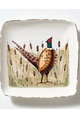 Vietri  Wildlife Pheasant Small Square Platter