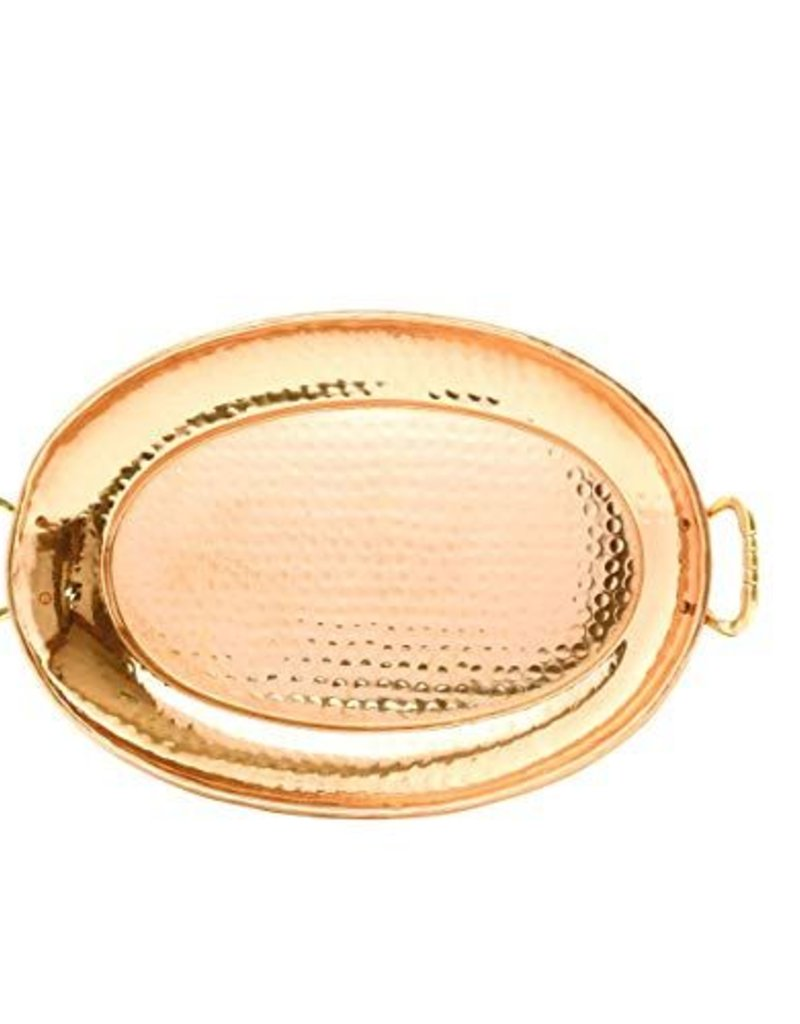 Copper Oval Tray with Handles