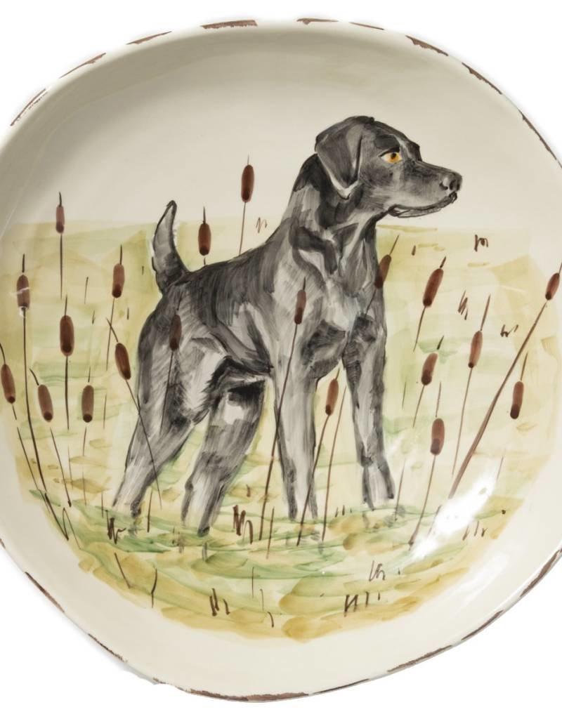 Vietri  Wildlife Black Hunting Dog Large Serving Bowl
