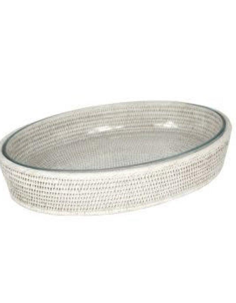 White Rattan Oval Pyrex Dish