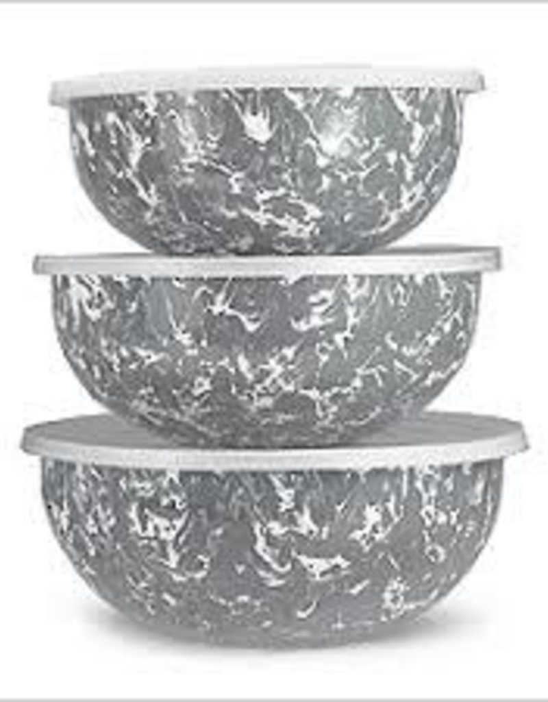 Golden Rabbit- Mixing Bowls S/3 (Grey Swirl)