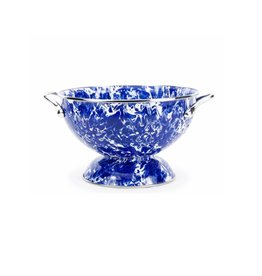 Golden Rabbit-  Large Colander (Cobalt Swirl)