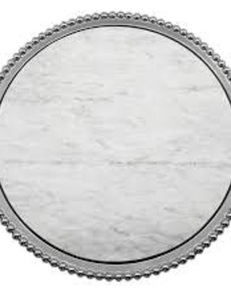 Mariposa- Pearled Marble Round Platter