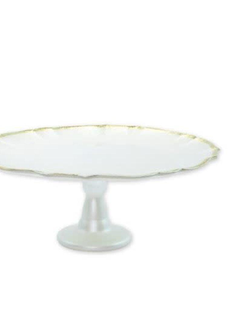 Vietri - Baroque Glass White Cake Stand