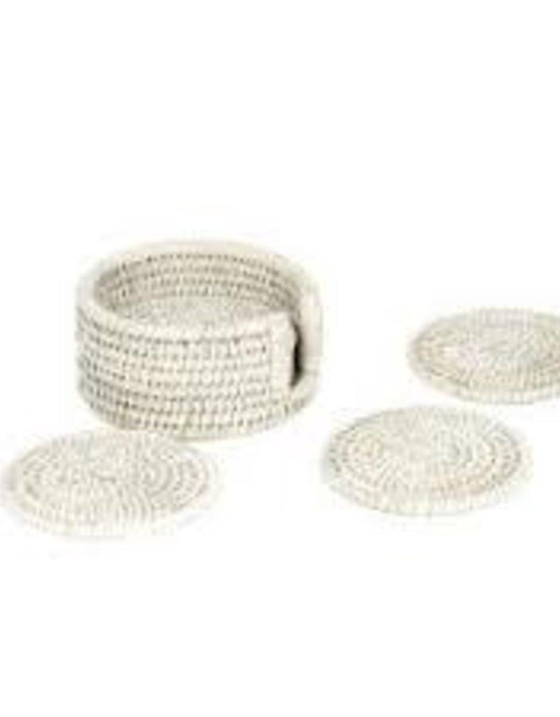 Baolgi- Set of 6 Rattan Round Coasters w/ Box