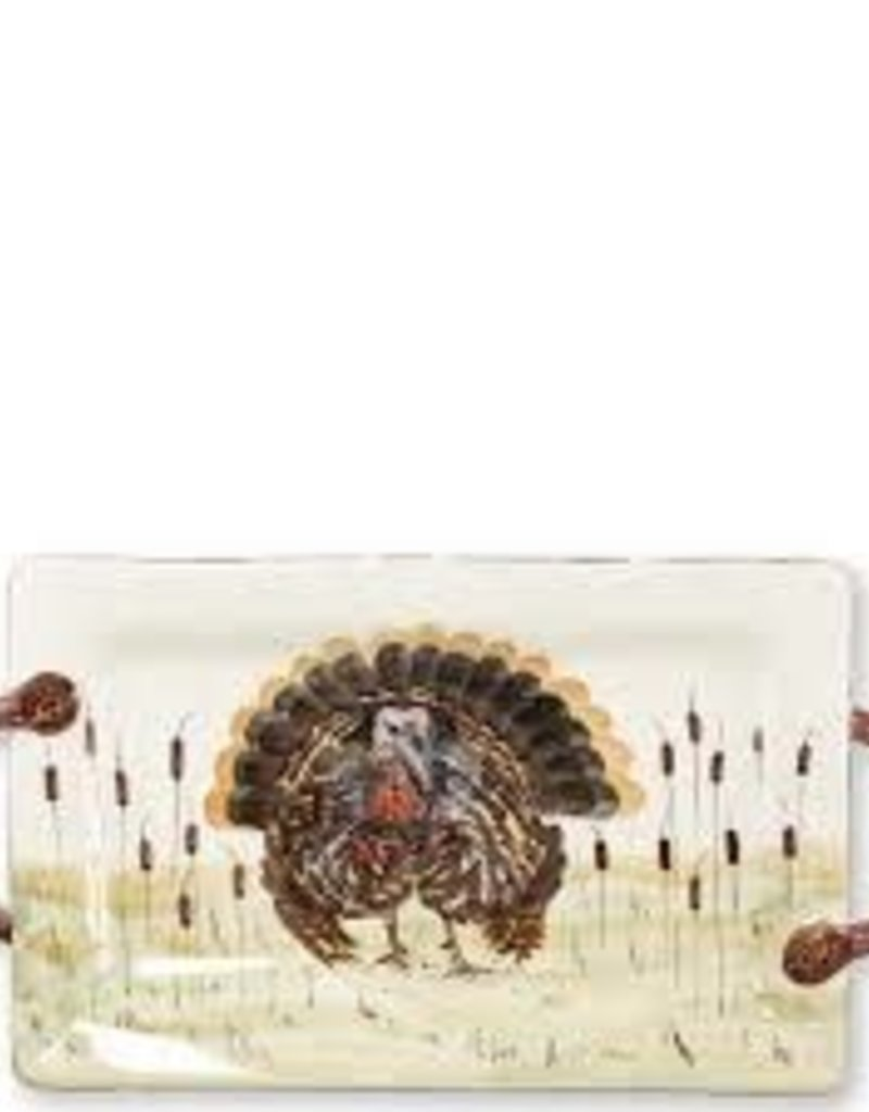 Vietri- Wildlife Turkey Handled Rect Platter