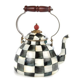 Mackenzie Childs Courtly Check Enamel Tea Kettle 3 Qt.
