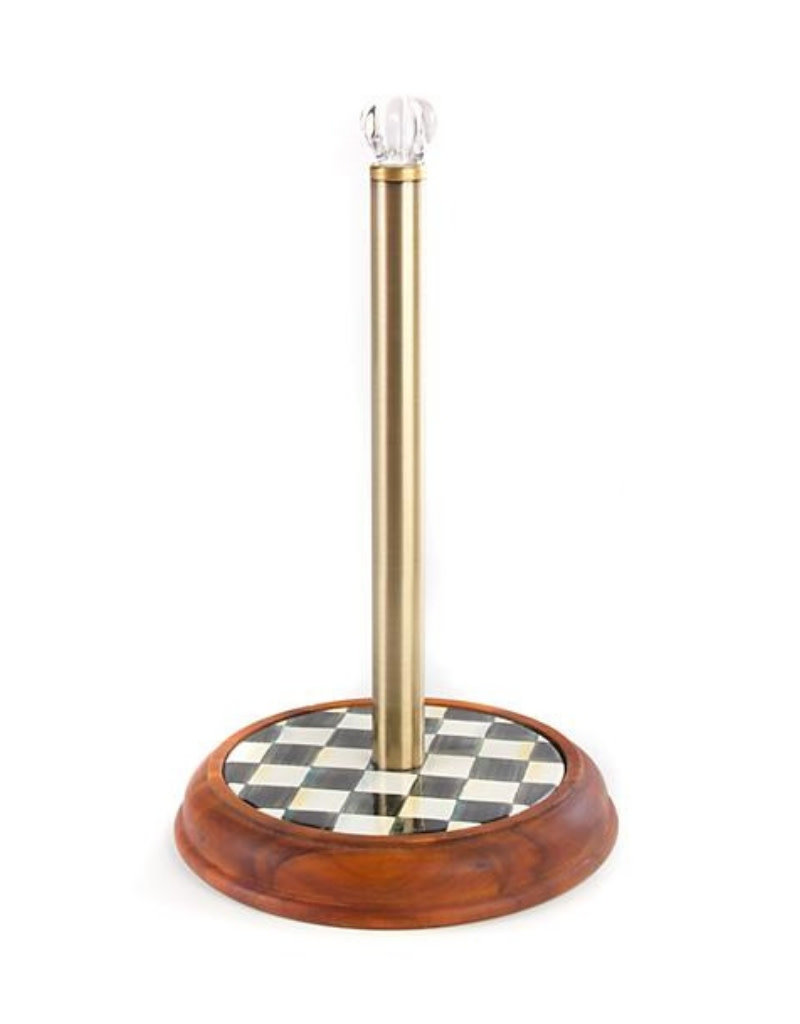 Mackenzie Childs Courtly Check Wood Paper Towel Holder