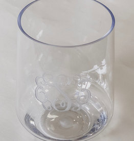 Set of 4 Monogrammed Acrylic Stemless Wine Glasses