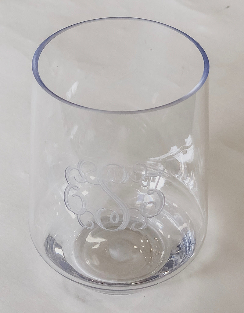 Set of 4 Monogrammed Acrylic Stemless Wine Glasses