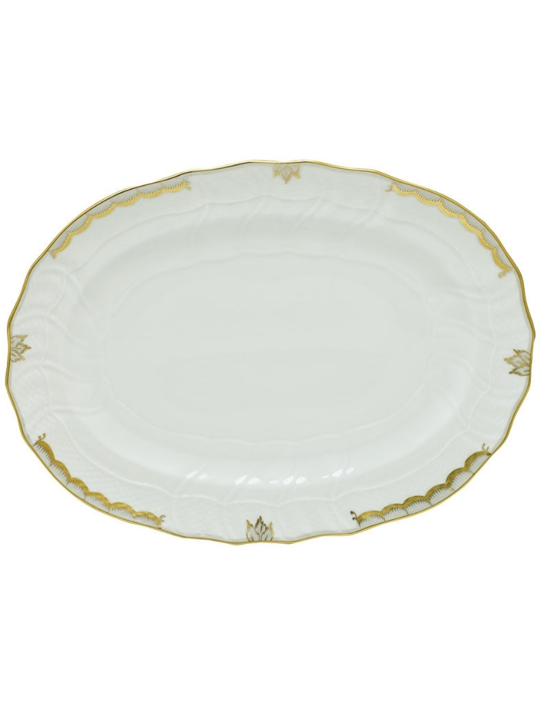 "Herend Princess Victoria Gray Platter 15""x11.5"""