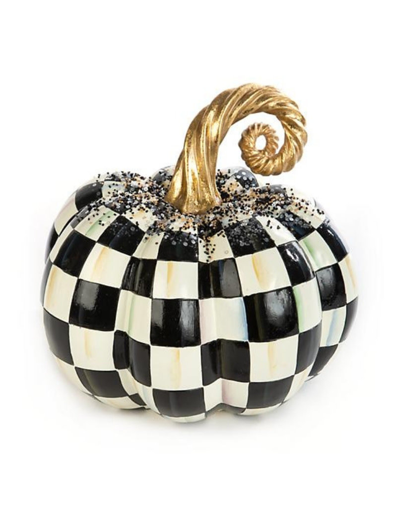 Mackenzie Childs Beaded Check Pumpkin Medium
