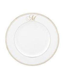 Federal Gold Monogram Script Dinner Plate